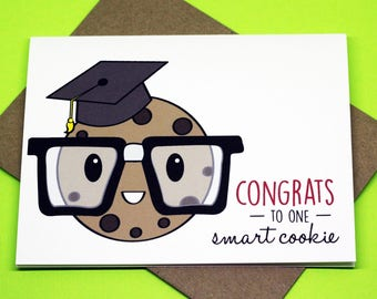 Congrats To One Smart Cookie Graduation Congratulations Tassel Punny Event Cute Funny Greeting Card