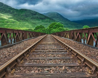 Mountain Train Tracks Digital Backdrop, Background, Digital Download, Railway, Track, Train