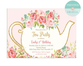 Girls Tea Party Invitation - Tea Party Birthday - First Birthday Invitation - Tea for Two - Garden Tea Party - Printed or Digital - LR1050PK
