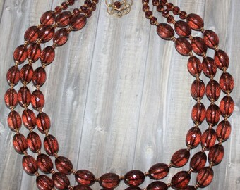 Dark Amber Brown Faceted Beaded Three Strands Wedding Statement Necklace   D227