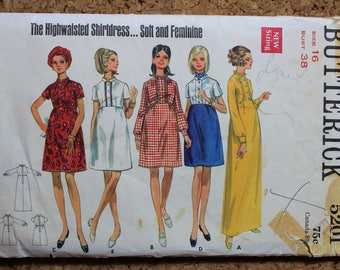 Butterick Vintage Sewing Pattern 5201 Size 16 Misses one piece Dress 1960's