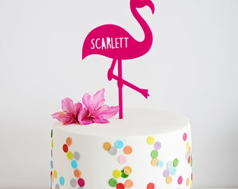 Personalised Flamingo Cake Topper - Pink - 7-9 inch cake