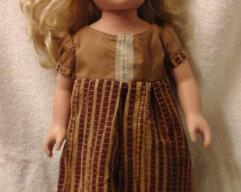 Brown Dress for 18 inch Dolls or American Girl
