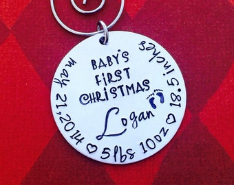Christmas ornament Personalized Baby's First Christmas Ornament - Hand stamped ornament  - Christmas gift - tree- new baby