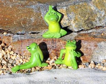 Yoga Frogs, 3 Piece Set, Options for Miniature Garden, Fairy Garden, Style: Strength