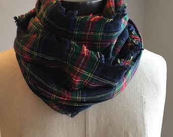 Navy plaid flannel scarf/Cotton plaid scarf/ Plaid Blanket scarf/plaid infinity scarf/gifts for him and her for under 30/gifts for her