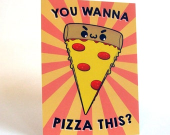 A6 Kawaii Pizza Postcard Print