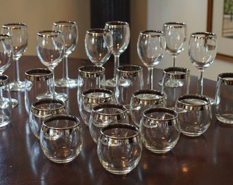 Fabulous Collection of 23 MCM Silver Banded Glasses/Barware/ Mad Men Barware/ Small Glasses/ Roly Poly Glasses/ Juice Glasses/ Wine Stems