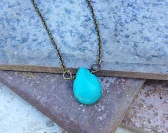 THE TURQUOISE TEARDROP Necklace //  Petite Turquoise teardrop stone on Antique Bronze Chain // Boho Festival Wear // Layering Necklace