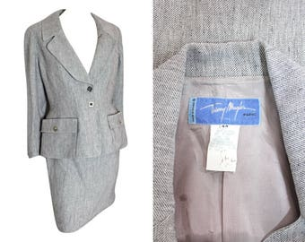 80s Thierry Mugler Grey Suit / Size S / 10/38 / 1980s / Vintage Designer Skirt Suit / Matching Two Piece / Workwear / Elegant