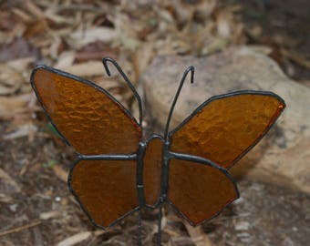 Beautiful brown stained glass butterfly