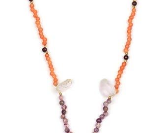 Multi Color, Carnelian, Garnet, Amethyst, Crystal Quartz Beaded Necklace Gemstone Jewelry