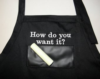 "BBQ Chalkboard APRON Embroidered 34"" With Usable Chalkboard How do you want it - Ready to Ship"