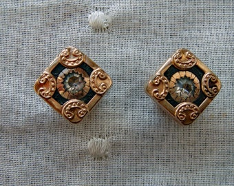 Victorian Cuff Buttons Shirt Studs Gold and Paste Diminutive Set of Two