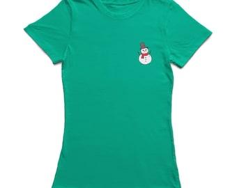 Pocket Happy Christmas Snownman  Women's Kelly Green T-shirt