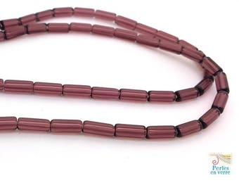 Plum glass tube beads 20 transparent 4x9mm (pv293)