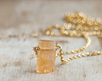Tiny Raw Topaz Necklace, Raw Crystal Necklace, Gift for Her, Gift for Wife, Raw Stone Necklace, November Birthstone, Imperial Topaz Jewelry