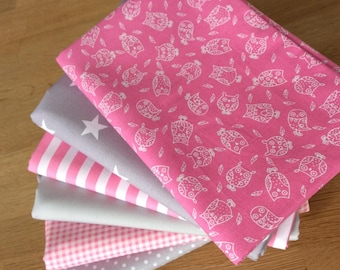LITTLE OWLS Fat Quarter Bundle D 100% craft cotton Blenders Pink Grey