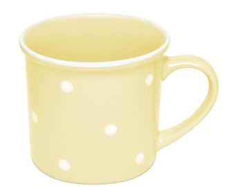 Ceramic Polka Dot Mug, 10oz, Yellow