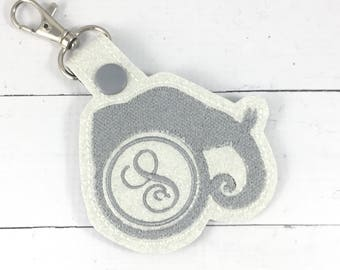 Elephant Initial or  2 Letter or 3 Letter circle monogram keyfob - personalized keychain - Monogrammed gifts -best gifts for her - birthday