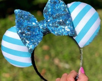 Baby Blue and White Striped Mouse Ears with light blue bow