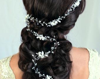 Bridal Hair Vine Wedding hair vine Flower hair vine Long hair vine Gold Pearl hair vine Bohemian bridal headpiece