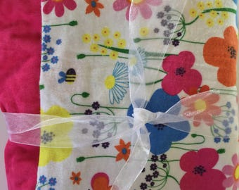 Bright Color Floral Flannel Receiving Blanket