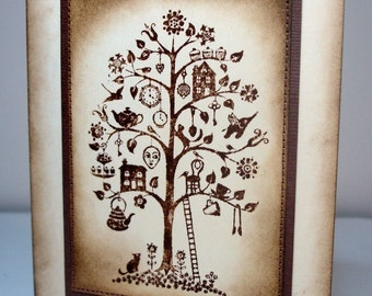 Whimsical Tree Greeting Card-Blank-Stitched-Distressed-Brown