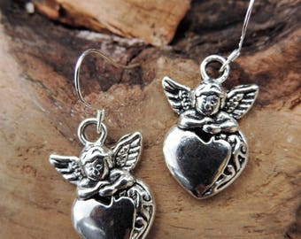 Heart and Angel charm, love, friendship earrings, silver attachment.