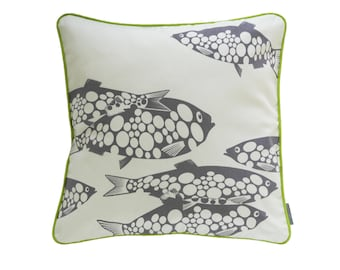 Pillow cover Miss Fish, woolly/grey-violet, 50 x 50 cm (without filling)