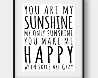 60% OFF You Are My Sunshine Print, Kids Room Decor, Printable Kids Gift, Nursery Print, Nursey Decor, Sunshine Print, Typography Art