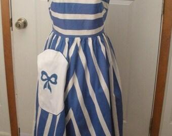 Vintage Summer Cotton Blue & White Striped Sundress