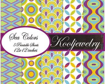 Sea colors digital paper pack - No.142