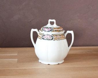 Beautiful vintage French Limoges fine porcelain sugar bowl - Shabby chic