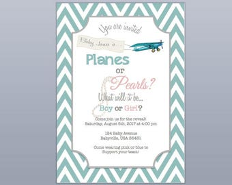 Planes or Pearls? Gender Reveal Invitation