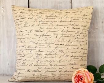 French Script Pillow, Black and Beige Throw Pillow, Vintage Farmhouse Cottage Home Decor,