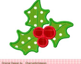 "Christmas Holly Embroidery Applique Design - 4x4 5x5 6x6"""