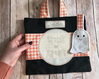 Trick or Treat Halloween Bag Personalized // Kids First Halloween Candy Bag // Halloween Tote Bag // Halloween Ghost