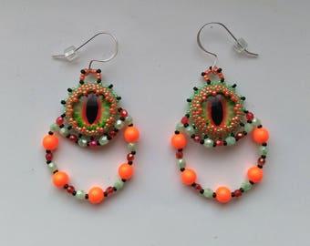 Orange, Green& Black Beadwoven/ Beaded Dragon Eye Earrings, Orange Swarovski Pearl Earrings, Sterling Silver - Dragon Eye by enchantedbeads