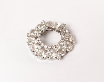 Vintage 60s RHINESTONE BROOCH / 1960s Large Tiered Sparkling Clear White Pin