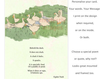 Ducks greeting card, Cute animal card, Children's Birthday Card, kids card, blank Greeting Card, Custom card, Funny card, 'Quack'