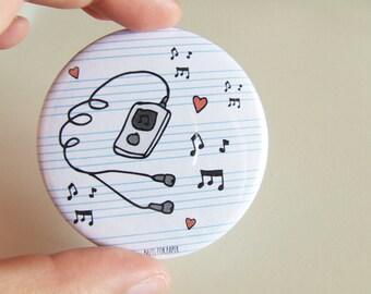 Music Sheet Badge - 57mm Large Pin 2.25 inch - Illustration - Pinback Button