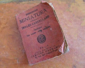 Miniatur Diccionario Ingles Castellano, Garnier Hermanos aus Paris, Vintage 1960, Englisch und Spanisch Tasche Wörterbuch