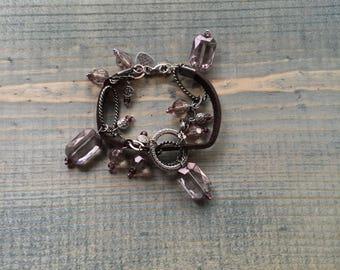 double strand bracelet, charm bracelet, leather bracelet, beaded bracelet, boho jewelry, bracelets for women, statement bracelet