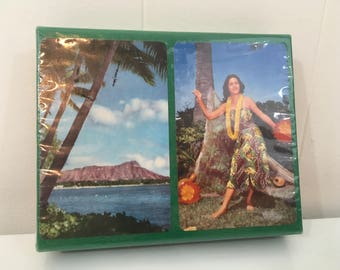 Vintage Hawaii Souvenir Playing Cards 1940s NOS Plastic Coated Double Playing Card Deck Ephemera