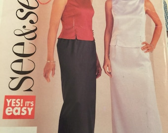 See & Sew 3631,  top an skirt, evening wear, silk, satin, wedding, prom,  size: 6-10 misses