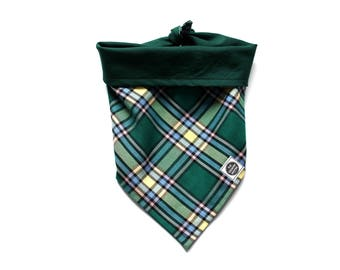 Tie-on Dog Bandana - Alberta Provincial Tartan Plaid on a reversible green cotton