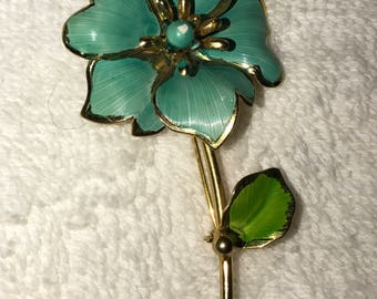 Large Blue Green Flower Power Brooch with Stem and Leaf