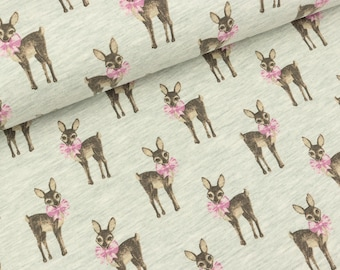Cotton jersey Darling deers small deer on mint mottled (10.50 EUR/meter)