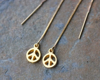 Peace out earrings - 22k gold plated pewter peace sign charms on 14k gold filled ear threaders - thread earrings - free shipping in USA